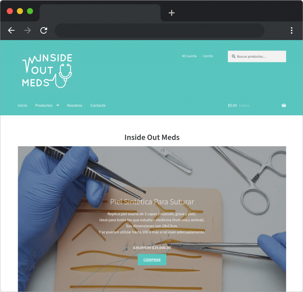 Desarrollo sitio web ecommerce Inside Out Meds